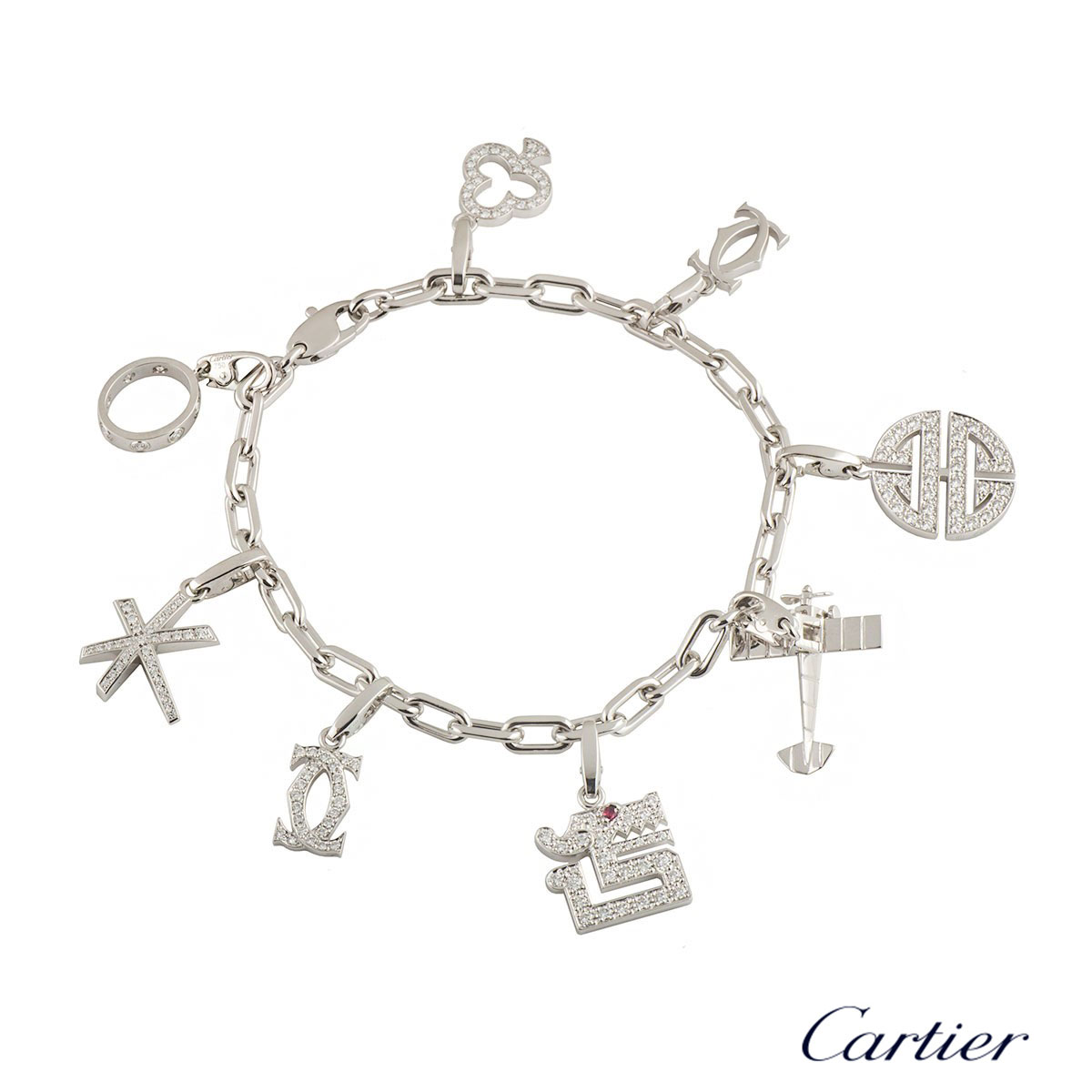 Cartier White Gold and Diamond Charm Bracelet